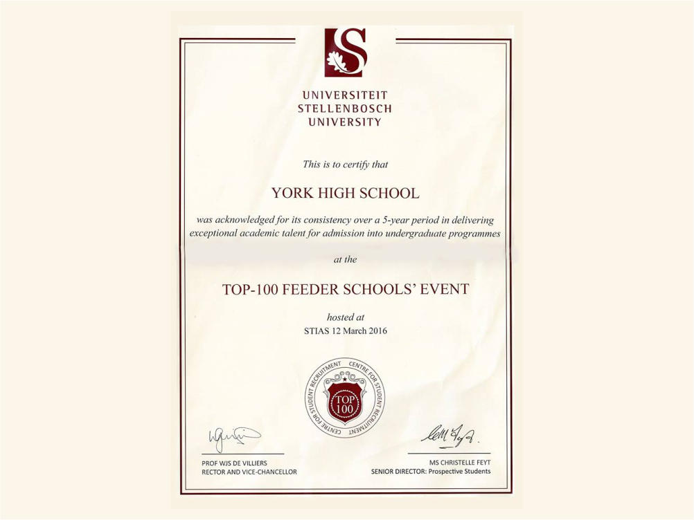 York High Top 100 feeder school at Stellenbosch University